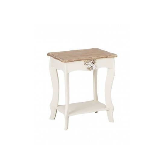 View Julian lamp table in cream and distressed wooden effect