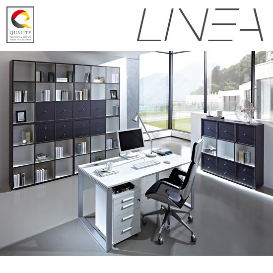 View Linea set b office room furniture in anthracite white