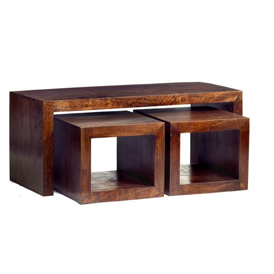 View Mango wood john long coffee table with 2 cube stools