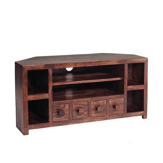 View Mango wood corner tv unit