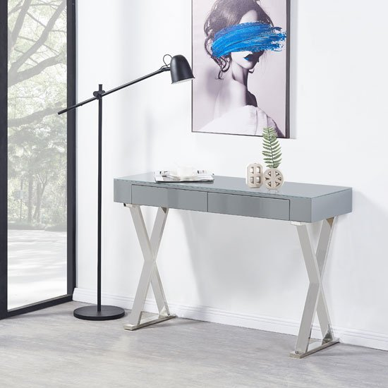 View Mayline console table in grey high gloss with glass top