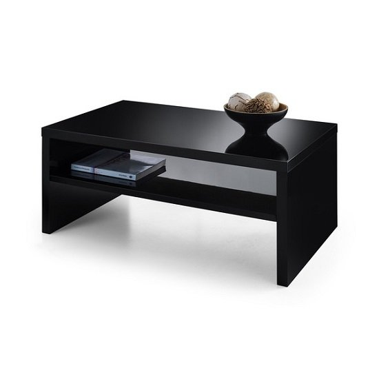 View Metric coffee table in black high gloss with undershelf