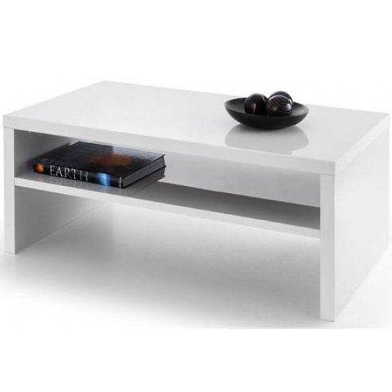 View Metric coffee table in white high gloss with undershelf