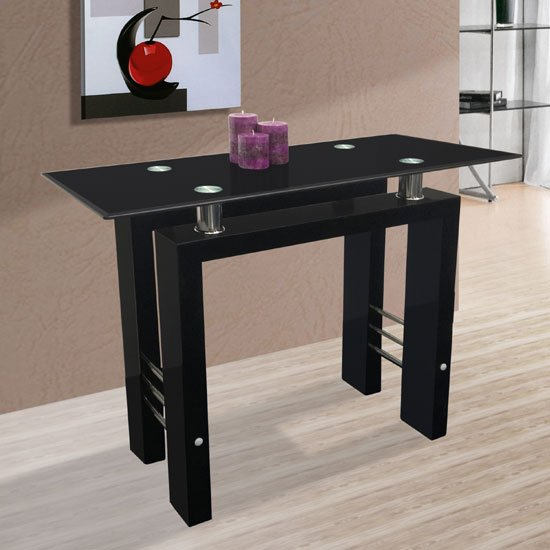 View Kontrast black glass console table in high gloss leg