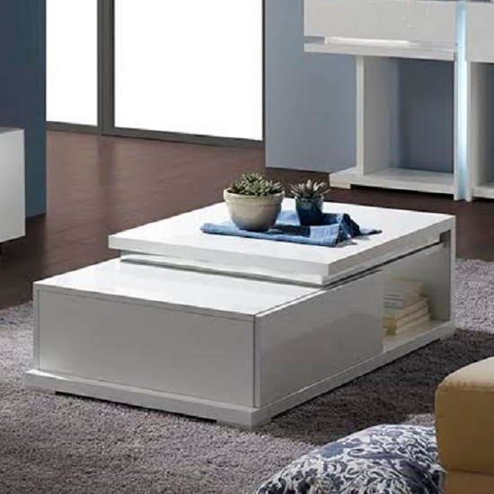 View Nicoli coffee table in white high gloss with 1 drawer