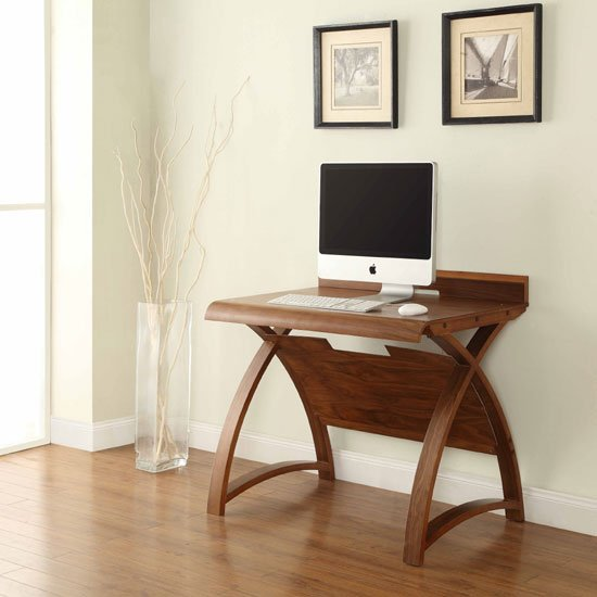 View Juoly small computer desk curve shape in walnut