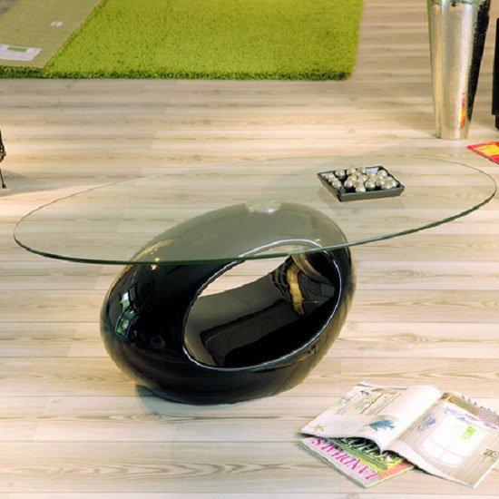 View Niagra glass coffee table with gloss black base