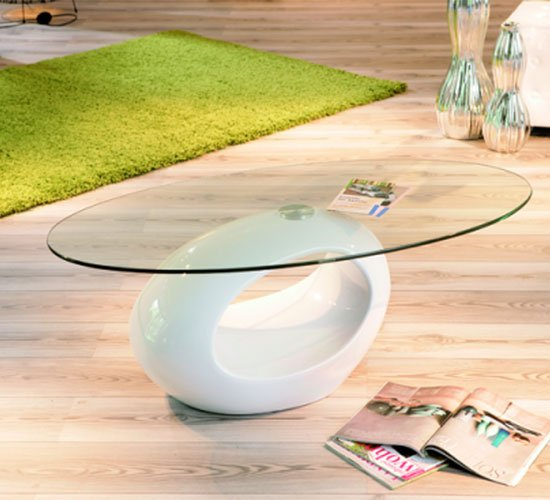 View Pucci glass coffee table with white gloss base