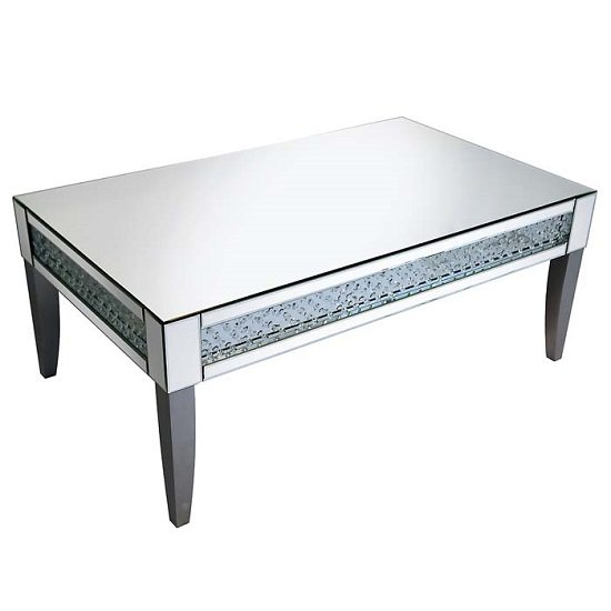 View Rosalie coffee table in silver with mirrored glass and crystals