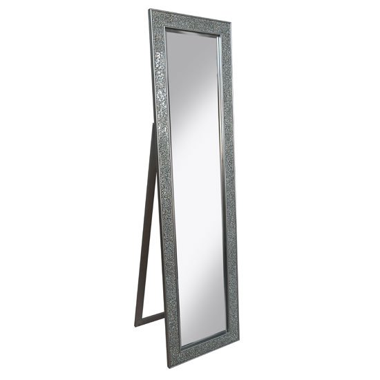 View Aliza floor standing cheval mirror in silver mosaic frame