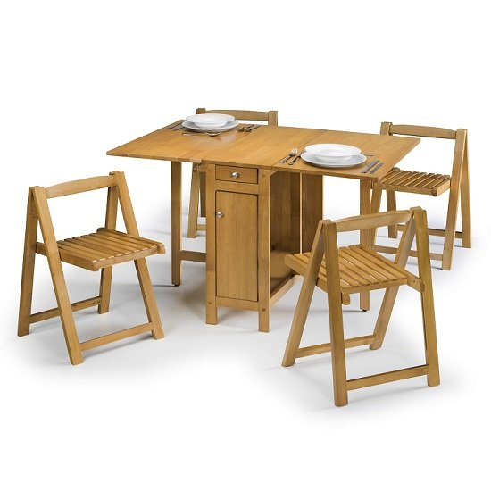 View Selina dining set in natural oak with 4 folding chairs