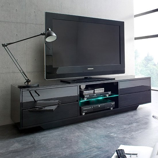 View Sienna tv stand in black high gloss with multi led lighting