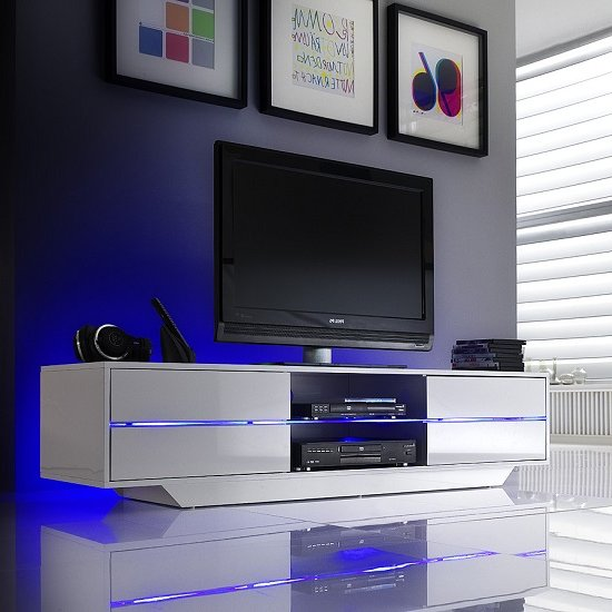 View Sienna tv stand in white high gloss with multi led lighting