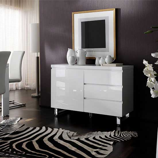 View Sydney small sideboard in high gloss white 3 drawer 1 door