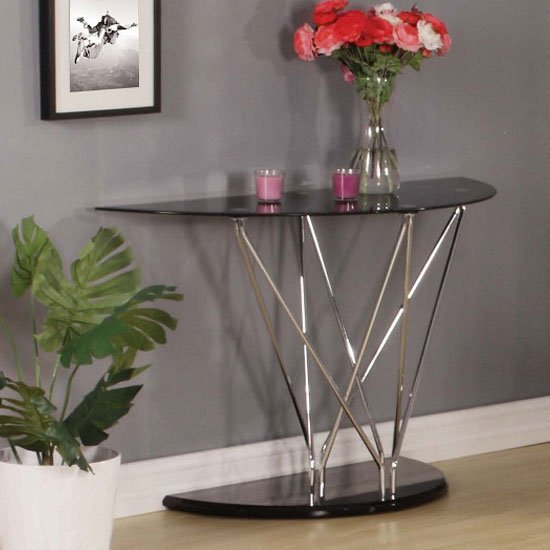 View Toulouse console table in black glass and chrome legs