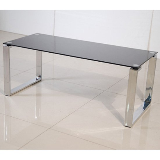 View Zeus black glass coffee table