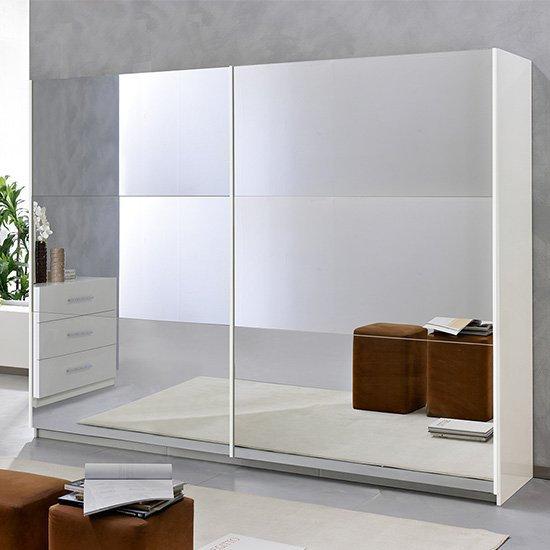 View Abby extra large 2 mirrored doors wooden wardrobe in white