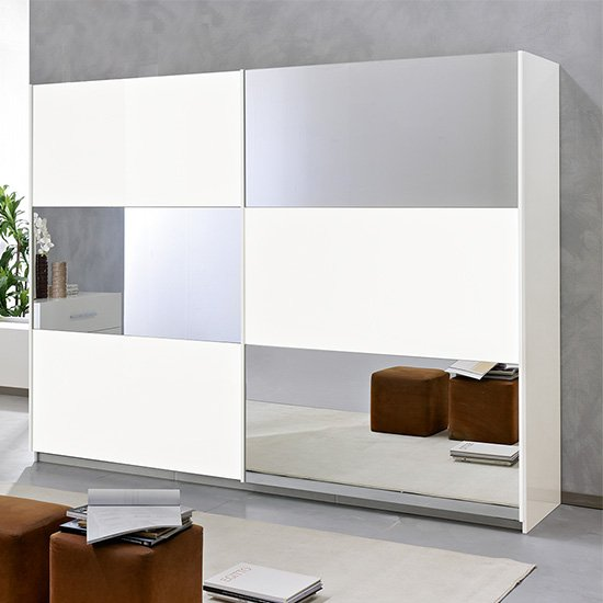 View Abby large mirrored sliding wooden wardrobe in white