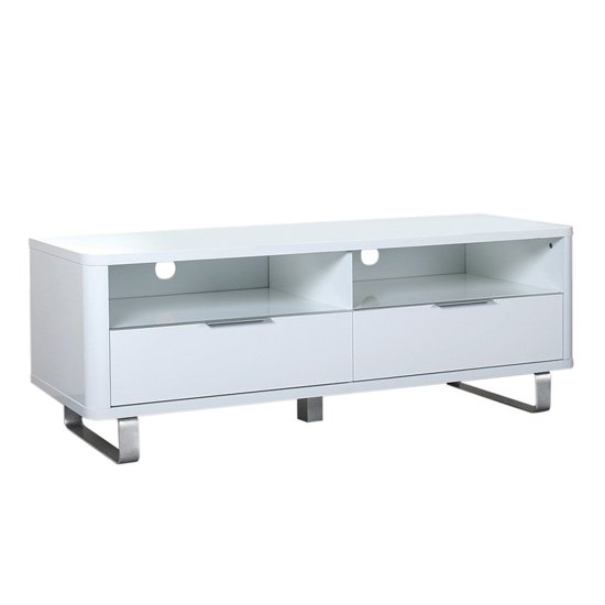 View Accent wooden tv unit in white with 2 doors