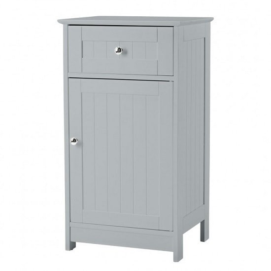 View Adamo bathroom storage cabinet in grey with 1 door and drawer