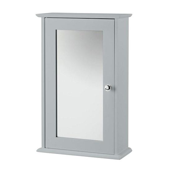 View Adamo wooden wall mounted mirror cabinet in grey with 1 door