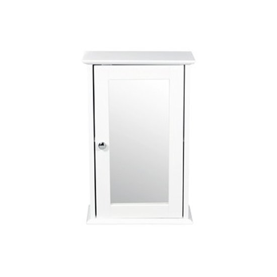 View Adamo wooden wall cabinet in white with mirror