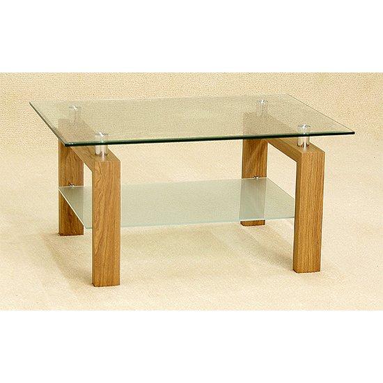 View Adina glass coffee table with oak legs