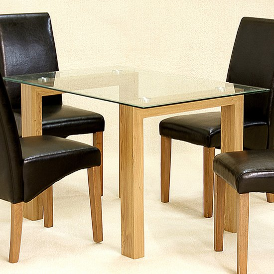 Adina Small Glass Dining Table With Oak Legs 219 95 Go Furniture Co Uk