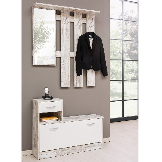 View Harrison hallway shoe storage in fresco and white