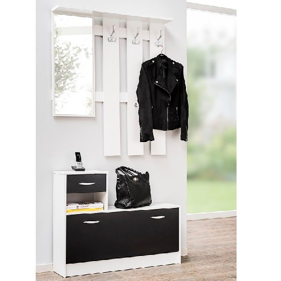 View Harrison hallway shoe storage in white and black