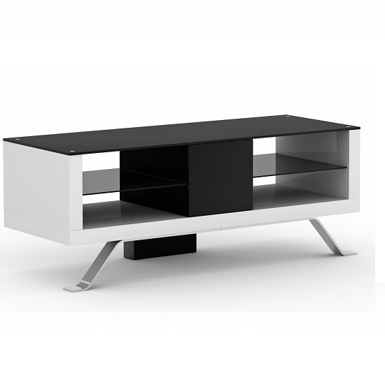 View Arcadia tv unit open fronted in white and black wood with glass
