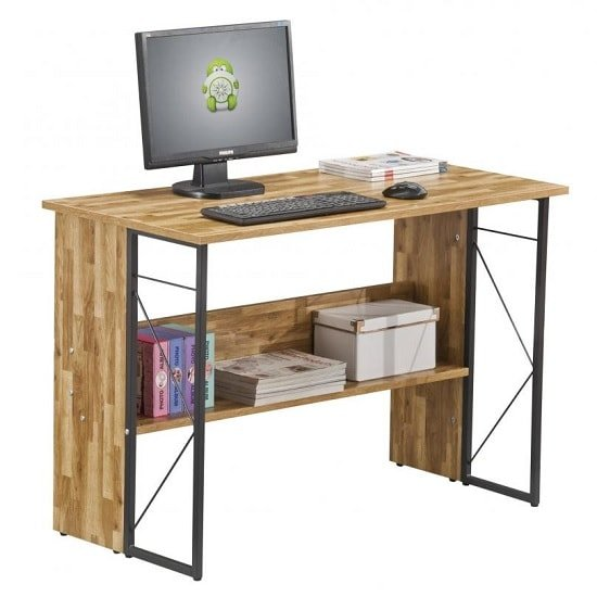 View Alameda computer desk in walnut with grey steel frame