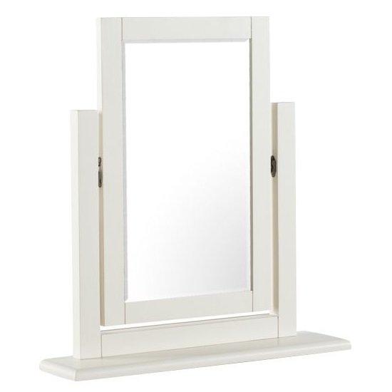View Alaya vanity mirror in stone white finish