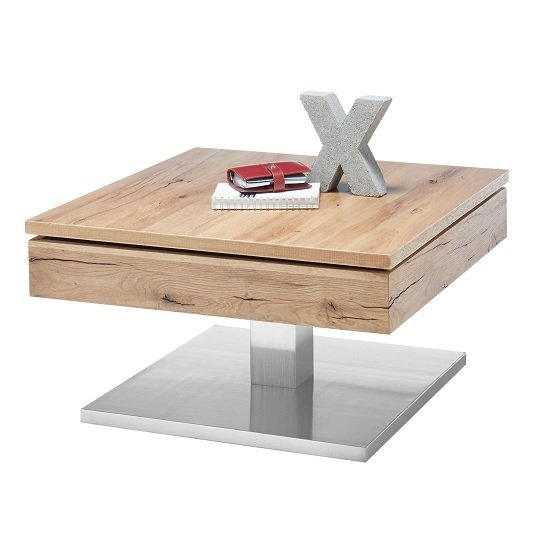 View Albans wooden coffee table square in knotty oak