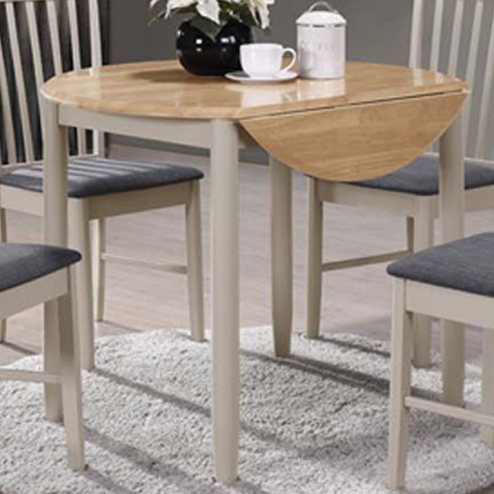 View Alcor round drop leaf dining table in stone grey and oak