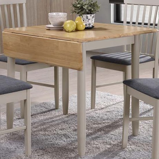 View Alcor square drop leaf dining table in stone grey and oak