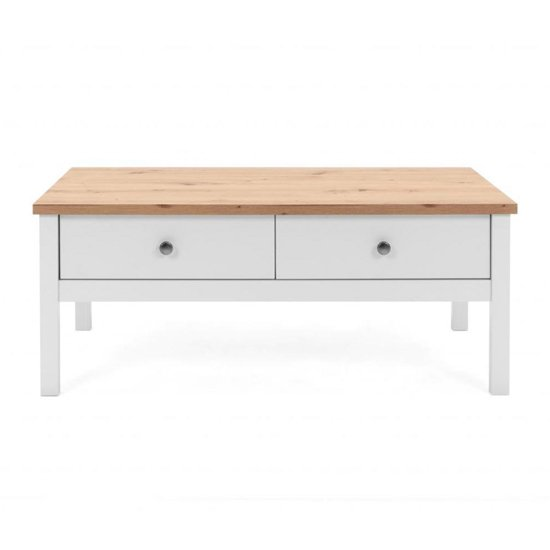 View Alder coffee table in artisan oak and white with 2 drawers
