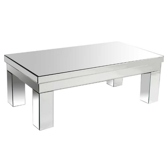 View Alfredo modern mirrored rectangular coffee table