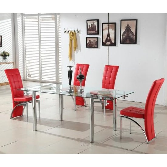 Alicia Extending Glass Dining Table With 6 Ravenna Red Chairs 699 95 Go Furniture Co Uk