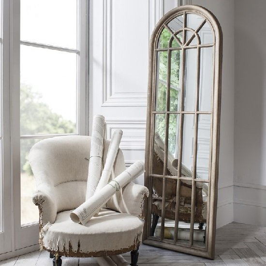 View Leona floor mirror in weathered with panelled window style