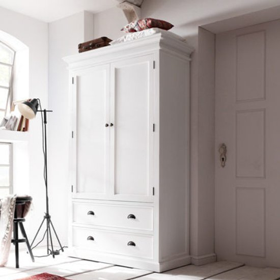 View Allthorp double door wardrobe in classic white with 2 drawers