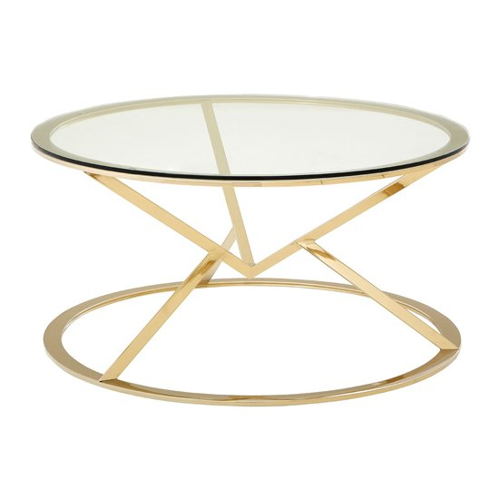 View Alluras corseted round coffee table in champagne gold