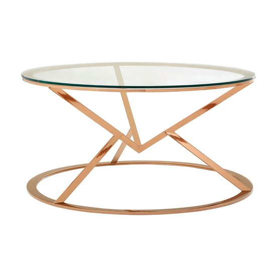 View Alluras corseted round glass coffee table in rose gold
