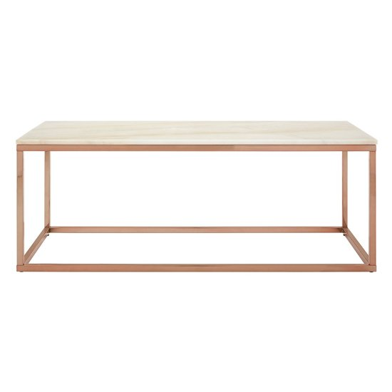 View Alluras rectangular coffee table with white marble top