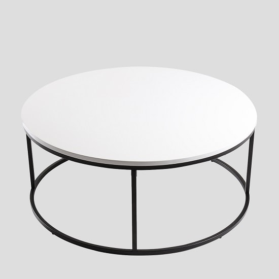 View Alpen coffee table round in white high gloss black metal frame