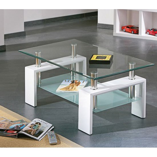 View Alva glass coffee table with undershelf and white legs