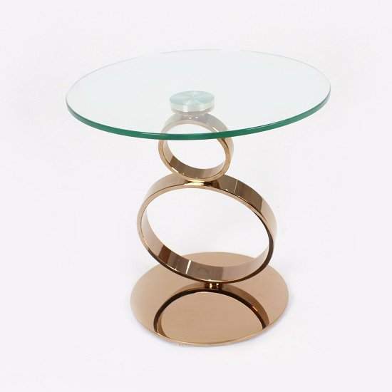 View Amalia glass coffee table round in clear with rosegold base