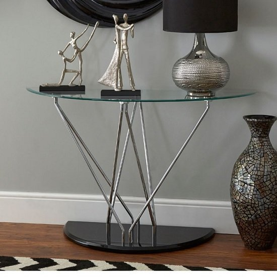 View Amelia glass console table half moon in clear with black base