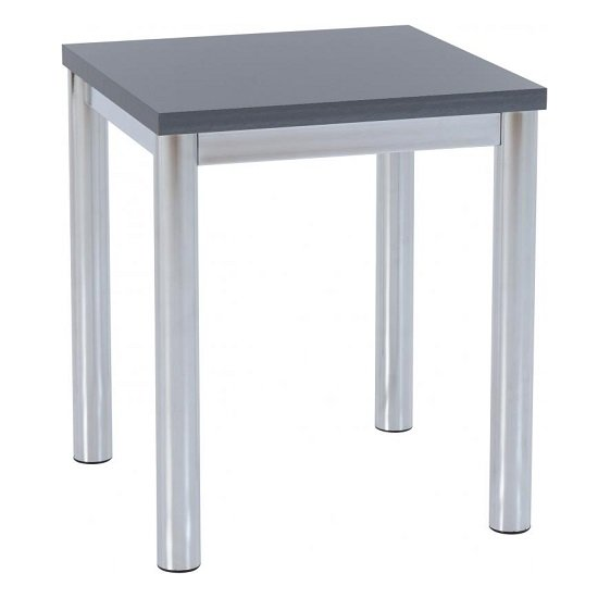 View Andi lamp table in grey gloss with chrome legs