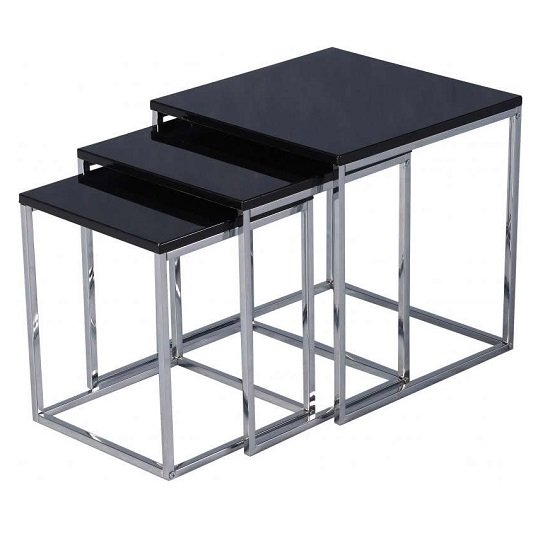 View Andi nest of tables in black gloss with chrome legs